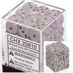 CHX 25810 - 36 Dark Grey w/ Black Opaque 12mm d6 Dice