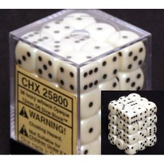 CHX 25800 - 36 Ivory w/ Black Opaque 12mm d6 Dice