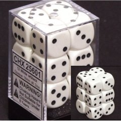 CHX 25601 - 12 White w/ Black Opaque 16mm d6 Dice