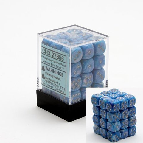 36 Blue w/silver Mother of Pearl 12mm D6 Dice Block - CHX27856