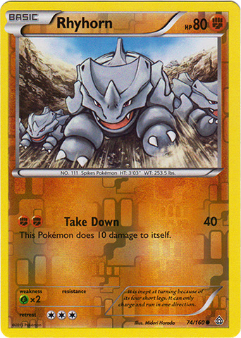 Rhyhorn - 74/160 - Common - Reverse Holo