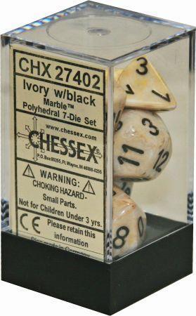 7 Ivory w/Black Marble Polyhedral Dice Set - CHX27402