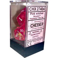 Chessex Dice Block 7ct Polyhedral - Borealis Pink with Silver Numbers - CHX27404