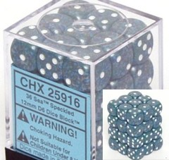 36 Sea Speckled 12mm D6 Dice Block - CHX25916