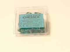 10 Translucent Teal w/white D10 Dice Set - CHX23215