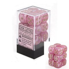12 Pink w/gold Easter 16mm D6 Dice Block - CHXLE763