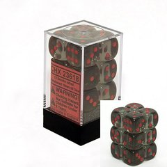12 D6 Dice Block - 16mm Translucent Smoke with Red - CHX23618