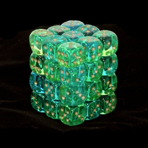 36 Green-Teal w/gold Gemini Translucent 12mm D6 Dice Block - CHX26838