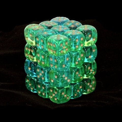 36 Green-Teal w/gold Gemini Translucent 12mm D6 Dice Block - CHX26838