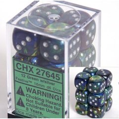 12 Green w/silver Festive 16mm D6 Dice Block - CHX27645