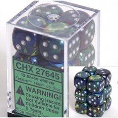 12 Green w/silver Festive 16mm D6 Dice Block - CHX27645