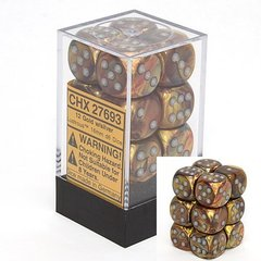 12 Lustrous Gold w/silver 16mm D6 Dice Block - CHX27693