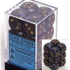 12 Shadow w/gold Lustrous 16mm D6 Dice Block - CHX27699