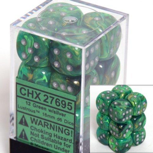12 Green w/silver Lustrous 16mm D6 Dice Block - CHX27695