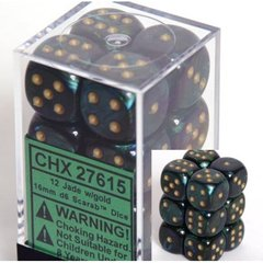 12 Jade w/gold Scarab 16mm D6 Dice Block - CHX27615