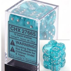 12 D6 Dice Block - 16mm Cirrus Aqua with Silver - CHX27665