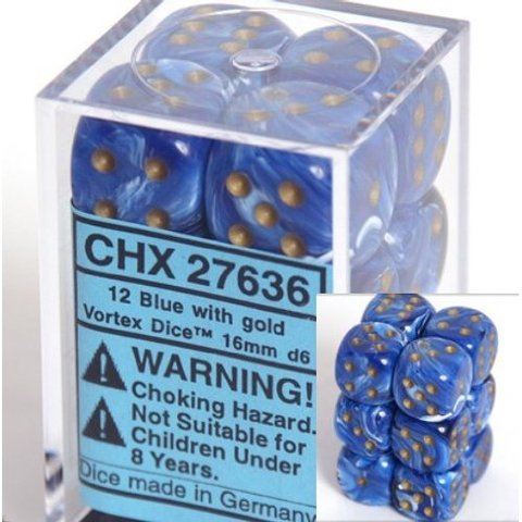 12 Blue w/gold Vortex 16mm D6 Dice Block - CHX27636