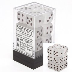 12 Frosted Clear w/black 16mm D6 Dice Block - CHX27601