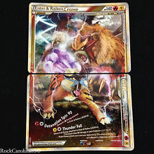 Entei and Raikou LEGEND (Both Halves) - 90+91/95 - Rare Holo Legend