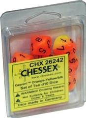 Gemini Orange-Yellow/black. Set of Ten d10 Dice - CHX26242