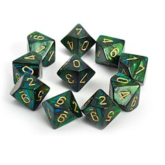 Scarab Jade w/gold Set of Ten d10 Dice - CHX27215