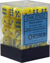 36 12mm Yellow w/Blue Vortex D6 Dice - CHX27832 on Channel Fireball