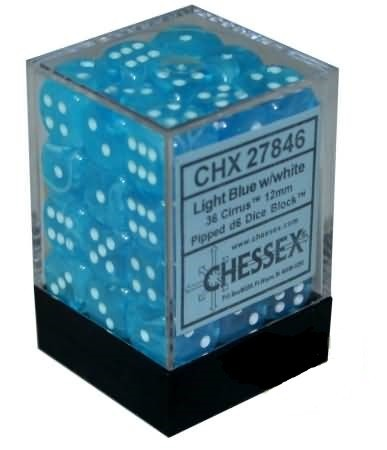 36 12mm Light Blue w/White Cirrus D6 Dice - CHX27846