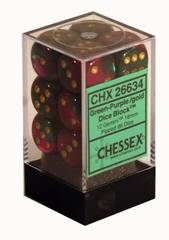 12 D6 Dice Block - 16mm Gemini Green-Purple with Gold - CHX26634