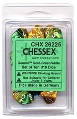 Gemini Gold-Green/white Set of Ten d10 Dice - CHX26225