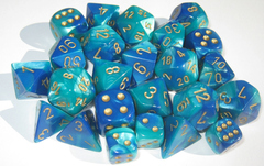 Gemini Blue-Teal/Gold 7 Dice Set CHX26459