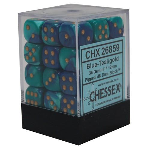 36 Gemini Blue-Teal/gold 12mm d6 Dice Block - CHX26859