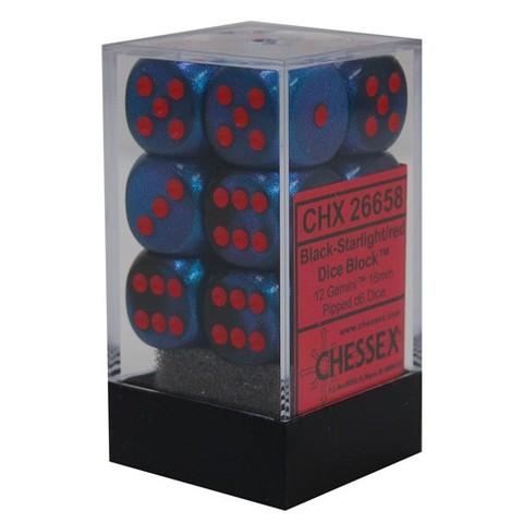 Gemini Black Starlight / Red - Pipped 12 - Die Set (Chessex) - CHX26658