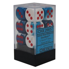 12 Astral Blue-White/red Gemini 16mm d6 Dice Block - CHX26657