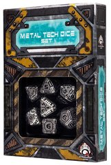 Metal-Black - Tech  (Q-Workshop) - 7 Dice Set