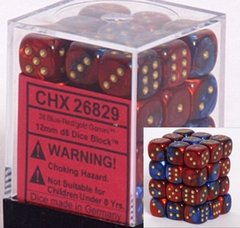 36 Blue-red w/gold Gemini 12mm D6 Dice Block - CHX26829 on Channel Fireball