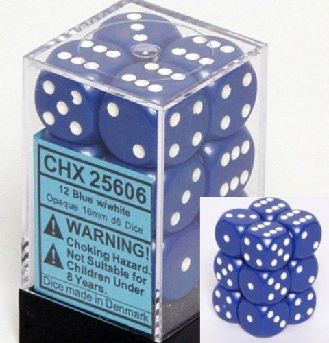12 Blue w/white Opaque 16mm D6 Dice Block - CHX25606