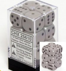 12 D6 Dice Block - 16mm Opaque Grey with Black - CHX25610