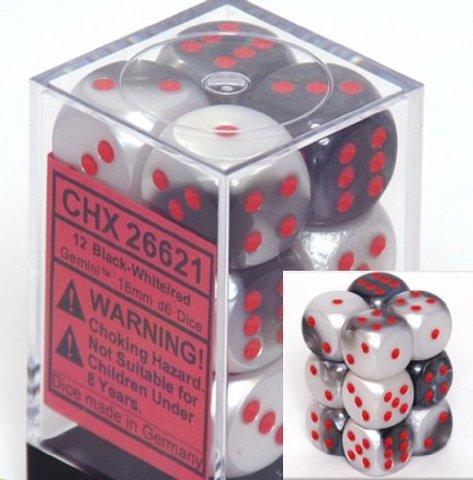 12 Black-white w/red Gemini 16mm D6 Dice Block - CHX26621