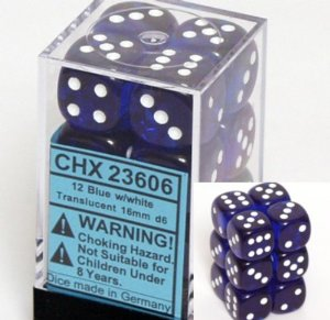 12 Blue w/white Translucent 16mm D6 Dice Block - CHX23606