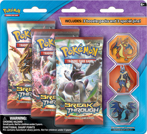 Pokemon XY 3-Booster Blister Pack - Mega Charizard X, Mega Lucario, Mega Charizard Y Pins