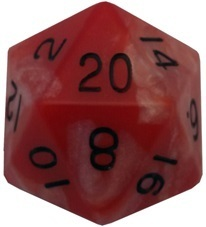 Acrylic Dice 35mm Mega D20 Combo Attack Red & White with Black Numbers