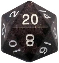Acrylic Dice 35mm Mega D20 Ethereal Black with White Numbers