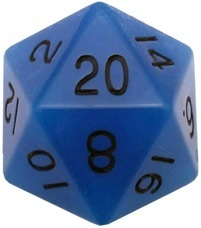 Acrylic Dice 35mm Mega D20 Glow Blue with Black Numbers