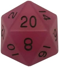 Acrylic Dice 35mm Mega D20 Glow Purple with Black Numbers