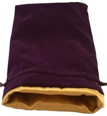 Large Dice Bag Purple Velvet with Gold Satin Lining (6x8 inch)