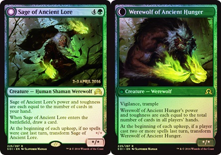 Sage of Ancient Lore // Werewolf of Ancient Hunger - Foil - Prerelease Promo