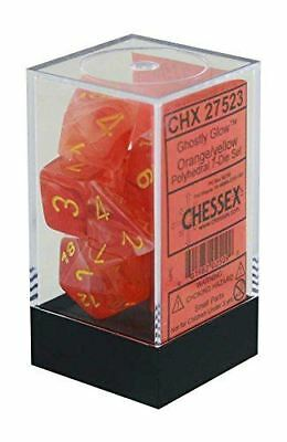 Ghostly Glow Orange and Yellow Polyhedral 7 Dice Set - CHX27523