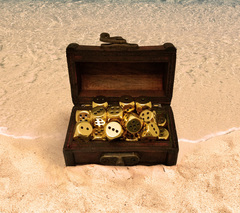 Mini Treasure Chest Dice Set - Gold