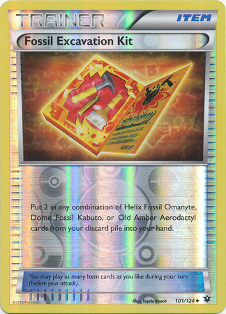 Fossil Excavation Kit - 101/124 - Uncommon - Reverse Holo - Pokemon