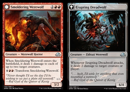 Smoldering Werewolf // Erupting Dreadwolf - Foil